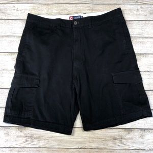 Chaps Black 38 Cargo Shorts Snap Button Pockets